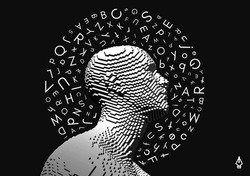Discovery, studying and learning concept. Brain training. Development of thinking abilities. Halo of letters in chaotic order above the man's head. Vector illustration for education.
