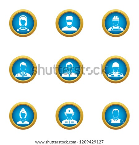 Discrete icons set. Flat set of 9 discrete vector icons for web isolated on white background