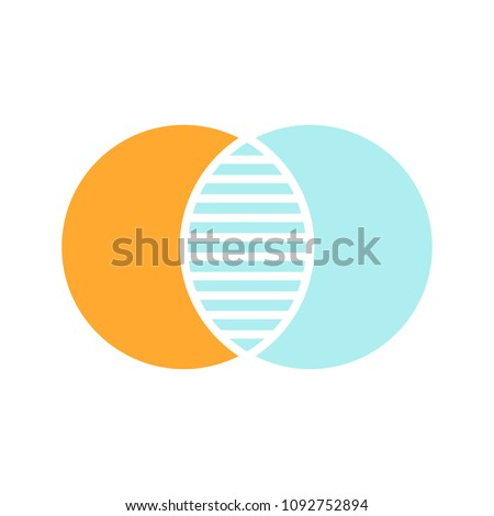 Discrete maths glyph color icon. Overlapping circles. Intersection. Venn diagram. Silhouette symbol on white background with no outline. Negative space. Vector illustration