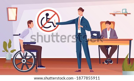 Discrimination of disabled people with man on wheelchair flat vector illustration Stockfoto ©