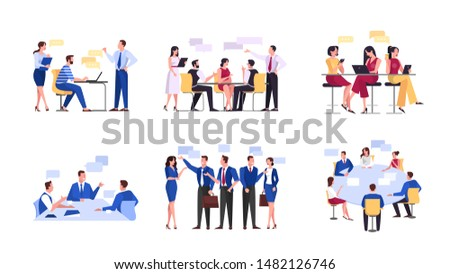 Discussion and brainstorming in team concept. Group of business people at work, office meeting. Professional communication. Isolated vector illustration in cartoon style