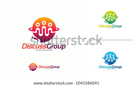 Discussion Group logo template, Consult Forum logo template, People and Consult logo designs vector illustration