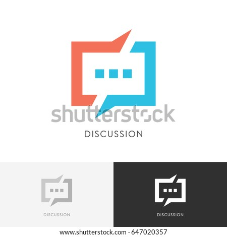 Discussion split logo - colored chat symbol. Conversation, dialogue and talk vector icon.