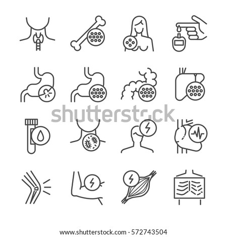Disease, illness and sickness line icon set. Included the icons as muscle, pain, broken, bleeding, sore throat, migraine and more.