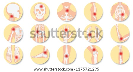 Disease of the joints and bones icon set on white background, bone x-ray image of human joints, anatomy skeleton flat design vector illustration.