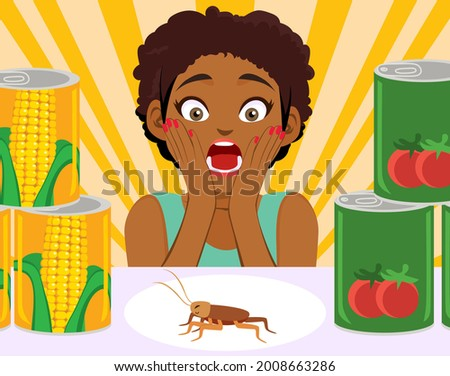 Disgusted screaming black woman discovering ugly living cockroach on pantry shelf