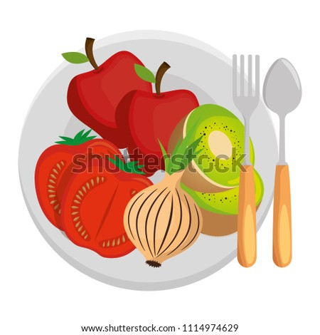 dish and cutlery with fruits and vegetables #1114974629