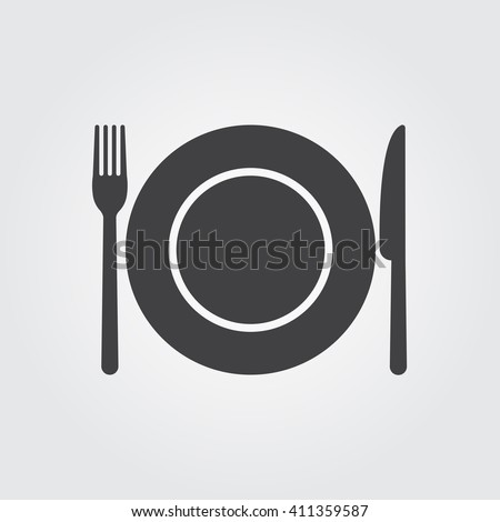 dish fork and knife icon  dish