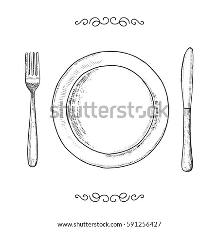 Dish fork and knife sketch. utensils vector vintage illustration