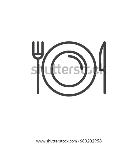 Dish, fork, knife line icon, outline vector sign, linear style pictogram isolated on white. Food symbol, logo illustration. Editable stroke. Pixel perfect vector graphics