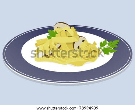 Dish isolated of pasta tagliatelle on blue background with mushrooms and parsley