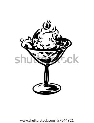 Dish Of Ice Cream - Retro Clip Art