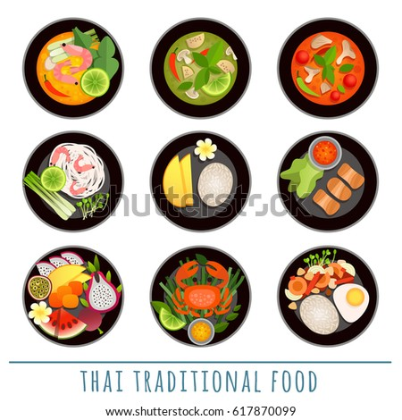 Dishes of Asian cuisine. Tom Yam Kung, Tom Kha, Pad Thai noodles, Som Tam and others traditional dishes.