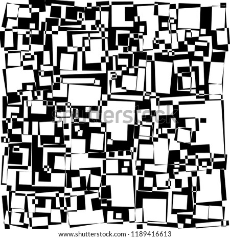 Disheveled, loose rectangles based, excluded, abstract pattern in black and white