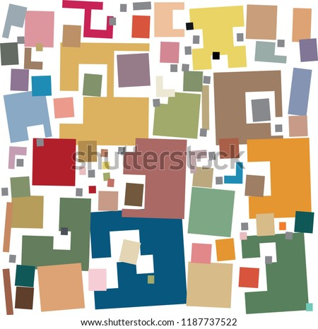 Disheveled loose rectangles colorful abstract pattern