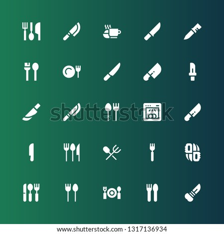 dishware icon set. Collection of 25 filled dishware icons included Knife, Cutlery, Dinner, Knifes, Fork, Dishwasher, Utensils, Meal, Eating utensils