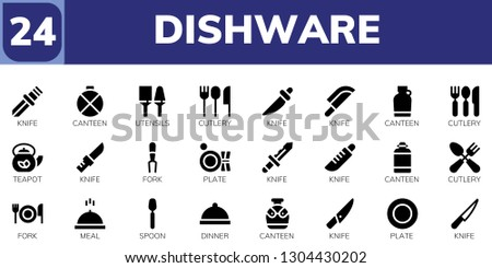 dishware icon set. 24 filled dishware icons.  Simple modern icons about  - Knife, Canteen, Utensils, Cutlery, Teapot, Fork, Plate, Meal, Spoon, Dinner