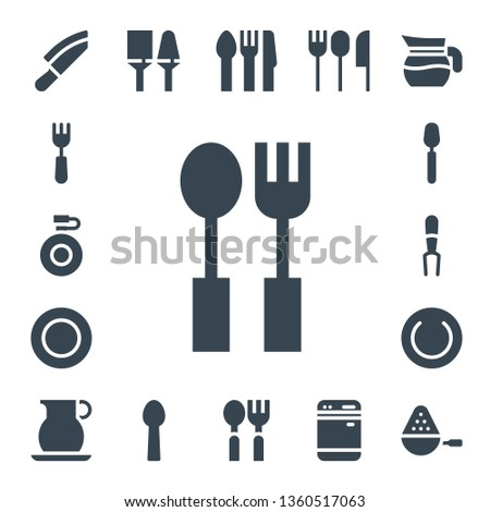 dishware icon set. 17 filled dishware icons.  Simple modern icons about  - Knife, Fork, Canteen, Cutlery, Plate, Spoon, Jug, Utensils, Dishwasher