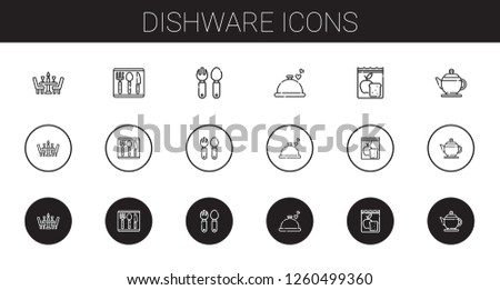 dishware icons set. Collection of dishware with dinner, cutlery, meal, teapot. Editable and scalable dishware icons.