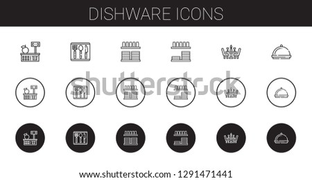 dishware icons set. Collection of dishware with tools and utensils, cutlery, crockery, dinnerware, dinner. Editable and scalable dishware icons.