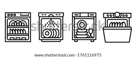 Dishwasher icons set. Outline set of dishwasher vector icons for web design isolated on white background