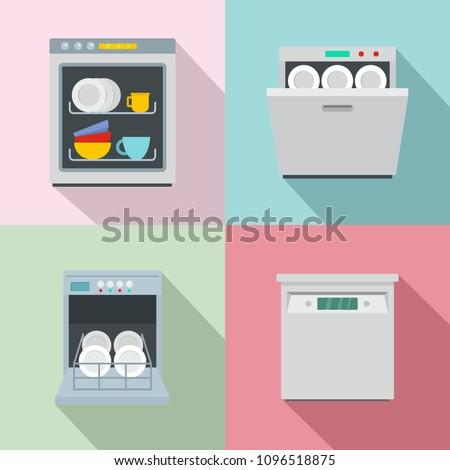 Dishwasher machine kitchen icons set. Flat illustration of 4 dishwasher machine kitchen vector icons for web