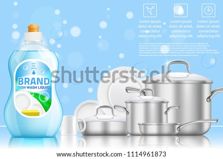 Dishwashing liquid products advertising poster. Vector realistic illustration of dish detergent brand bottle design template and clean shiny dishes and cookware.