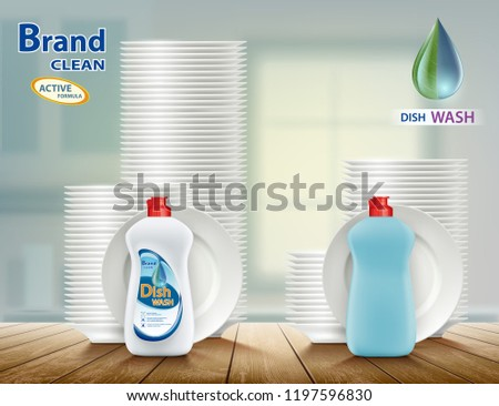 Dishwashing liquid soap with plates. Comparison of two detergents for dishes. Stock vector illustration.