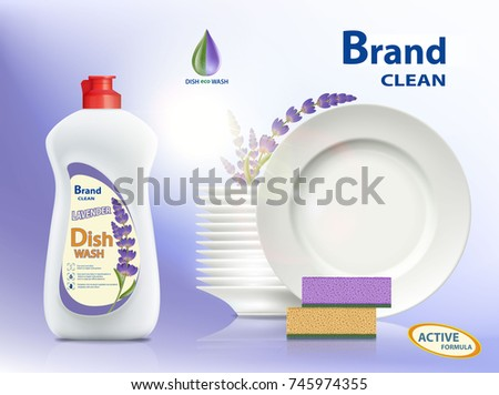 Dishwashing liquid soap with the scent of lavender. Plastic packaging with label design. Brand name advertising poster. Stock vector illustration.