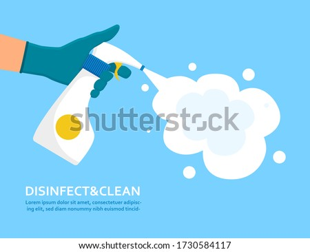 Disinfect and clean concept with a gloved hand spraying anti-bacterial spray from an atomiser bottle over a blue background with text, colored vector illustration