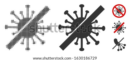 Disinfect coronavirus halftone vector icon and solid version. Illustration style is dotted iconic Disinfect coronavirus icon symbol on a white background. Halftone texture is round dots. Stock photo ©