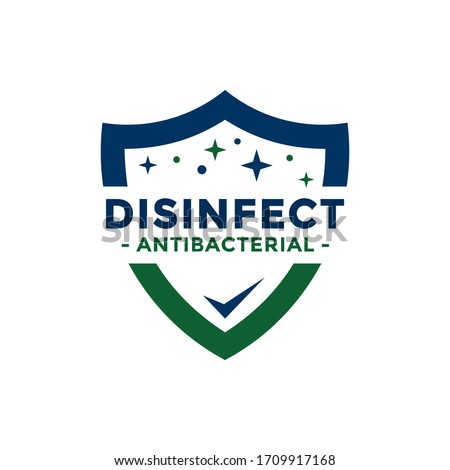 Disinfectant Logo Vector. Antibacterial logo design. Drop and shield vector design for poster, banner, flyer.