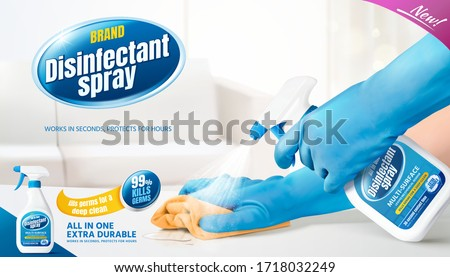 Disinfectant spray ad template, realistic bottle held in hand spraying disinfectant on white table with a rug cleaning the surface, 3d illustration