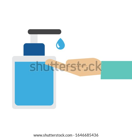 Disinfection concept. Man washing hands. Personal hygiene. Disinfection, antibacterial washing. Vector illustration.