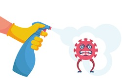 Disinfection coronavirus. Stop 2019-nCoV. Man with gloves spray kills a virus bacterium. Disinfectant solution. Vector illustration cartoon design. Isolated on white background. Prevention epidemic.