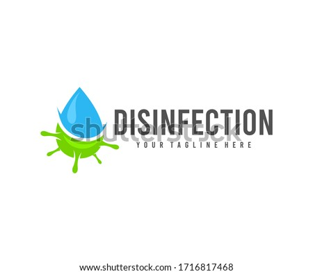 Disinfection, drop water and virus, logo design. Hygiene, cleanliness and health, vector design and illustration Stok fotoğraf ©