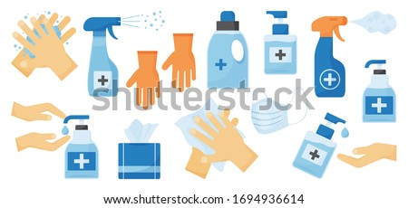 Disinfection. Hand hygiene. Set of hand sanitizer bottles, face medical mask, washing gel, spray, wet wipes, liquid soap, rubber gloves, napkins. PPE personal protective equipment. Vector illustration