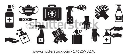 Disinfection. Hand hygiene. Set of hand sanitizer bottles, washing gel, spray, liquid soap, wipes, first aid kit, rubber gloves, thermometer. Black icons. PPE personal protective equipment. Vector