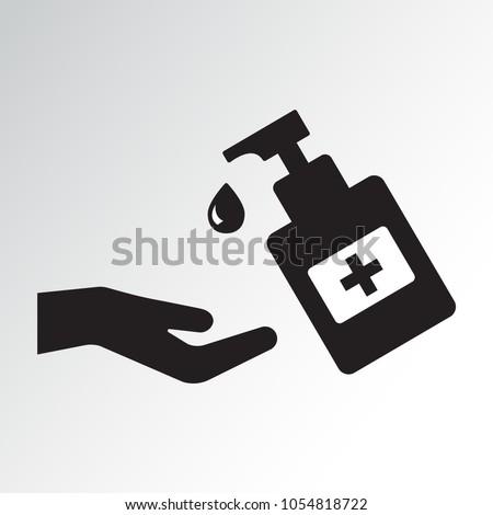Disinfection. Hand sanitizer bottle icon, washing gel. Black silhouette. Vector illustration