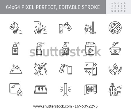 Disinfection line icons. Vector illustration included icons such as spray bottle, floor cleaning mop, wash hand gel, autoclave uv lamp outline pictogram for housekeeping 64x64 Pixel Perfect Editable Stroke Сток-фото ©
