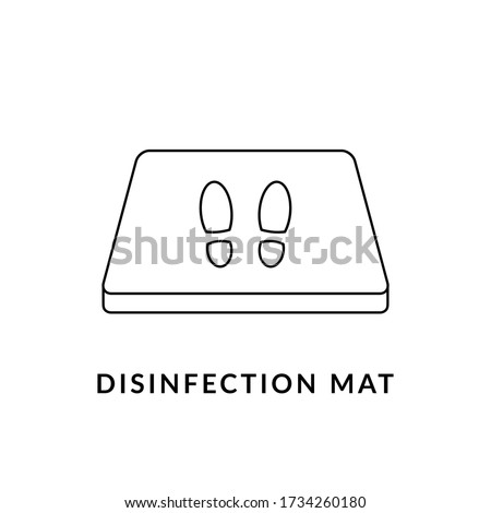 Disinfection mat line icon. Sanitizing doormat. Shoe disinfectant or foot bath with antiseptic solution. Black outline on white background. Coronavirus prevention concept. Vector illustration,clip art Foto stock ©