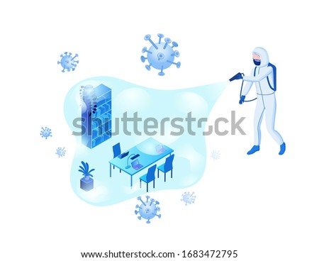 Disinfection of office room from Coronavirus to prevent 2019-nCoV contamination, man in hazmat suit and protective face mask spraying disinfectant on virus particles, isometric vector 3d illustration
