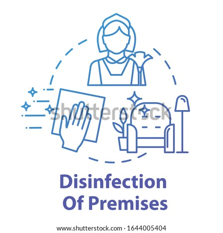 Disinfection of premises concept icon. Sterile surface. Sanitation at home. Cleaning service. Hand wiping furniture. Housework idea thin line illustration. Vector isolated outline RGB color drawing