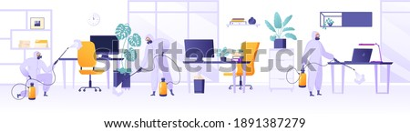 Disinfection of premises during global pandemic. People in protective suits, rubber gloves and boots, respirators disinfect office, co-working space. Spray antiseptic on surface, furniture and floors. Photo stock ©