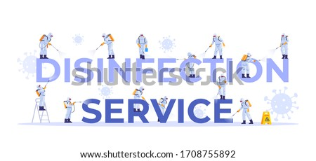 Disinfection service. Concept set of cleaning company staff different poses, for web page, banner, presentation, social media, documents, cards, posters. Coronavirus, pandemic. Vector illustration