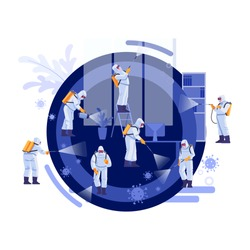 Disinfection Services & Deep Cleaning. Coronavirus, pandemic.  Group Of Janitors In Uniform Cleaning and remediation to curb infection. Vector illustration