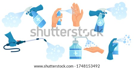 Disinfection spray in hand. Hands sanitizer, sprayed antiseptic and disinfectant container. Medical virus protection spray vector illustration set. Bottle spray to protection and disinfectant clean