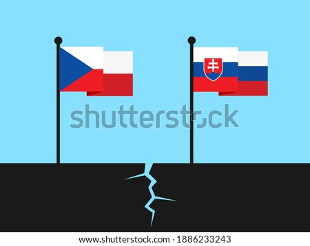 Disintegration and dissolution of Czechoslovakia into Czech Republic and Slovakia. Flag post and pole with wavy national symbols. Vector illustration.  Photo stock ©