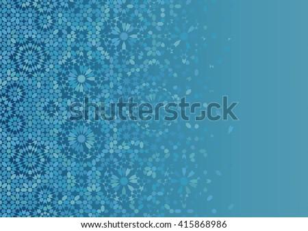 Disintegration mosaic Template. Traditional Morocco Islamic Arabic Design. Blue and light blue.