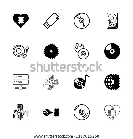 Disk icon. collection of 16 disk filled and outline icons such as blade saw, disc, cd, cpu in heart, cpu planet, disc flame. editable disk icons for web and mobile.